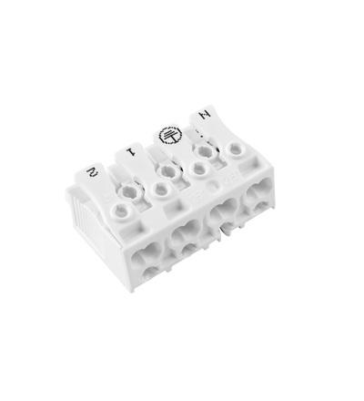 Svorkovnice SLK 3/4 E-PIEC (N-E-1-2) pro svítidla, bezšroubová, PC, bílá /88167529, ELEMAN 1000415