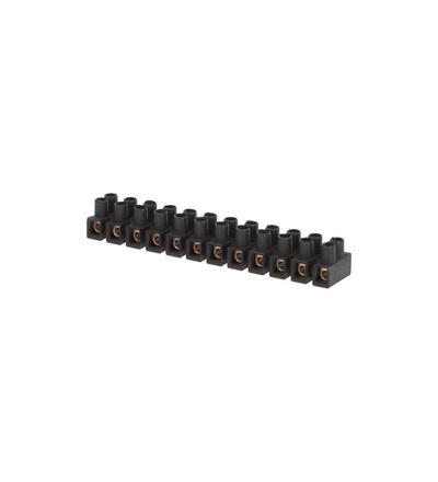 Svorkovnice přístrojová E-KL 0, 12x4mm2, T85, PP, černá, mosazná, hranatá, 32A/400V, ELEMAN 1032