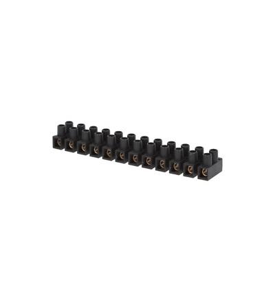 Svorkovnice přístrojová E-KL 2, 12x10mm2, T85, PP, černá, mosazná, hranatá, 57A/400V, ELEMAN 1052