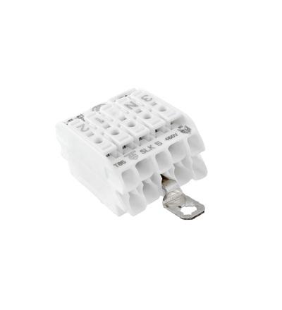 Svorkovnice SLK 5/5 E-SCHR (3-N-E-1-2) pro svítidla, bezšroubová, PC, bílá /88167479, ELEMAN 1001632