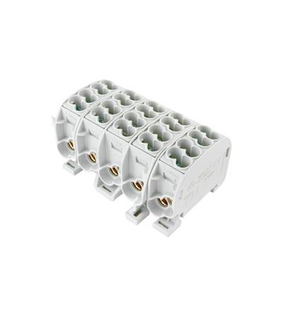 Svorkovnice rozbočovací HLAK 25//5 C 5L, 100A, 5pól., CU, IP20, šedá, na DIN, ELEMAN 2830