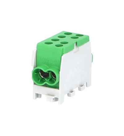 Svorkovnice rozbočovací HLAK 35 1/2 M2, 100A, 1pól., AL/CU, IP20, zelená, na DIN /2080143, ELEMAN 1003123