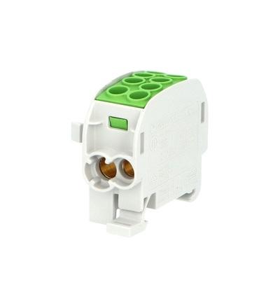 Svorkovnice rozbočovací HLAK 35//1 C PE, 125A, 1pól., CU, IP20, zelená, na DIN, ELEMAN 1003160