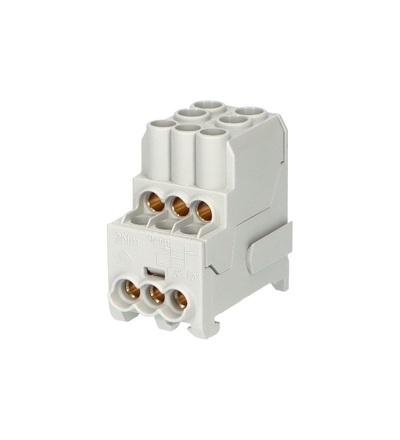Blok pro rozdělení fází UVB 100 L, 1pól., 100A, 690V, šedý, na DIN, ELEMAN 3164