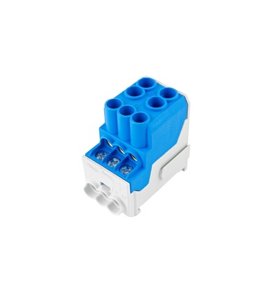 Blok pro rozdělení fází UVB 100 N, 1pól., 100A, 690V, modrý, na DIN, ELEMAN 3165