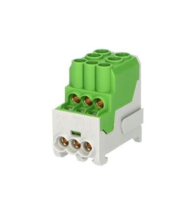 Blok pro rozdělení fází UVB 100 PE, 1pól., 100A, 690V, zelený, na DIN, ELEMAN 3166