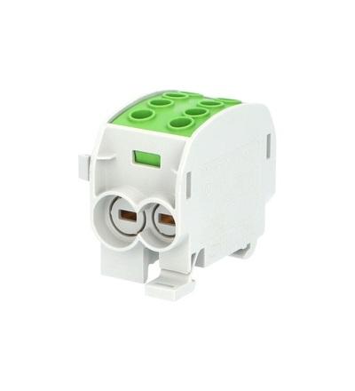 Svorkovnice rozbočovací HLAK 70//1 C PE, 160A, 1pól., CU, IP20, zelená, na DIN, ELEMAN 3169