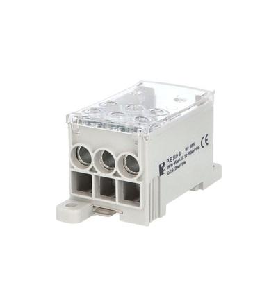 Blok pro rozdělení fází PVB 160-6, 1pól., AL/CU, 160A, 690V, šedý/průhl. víko, na DIN, ELEMAN 3951el