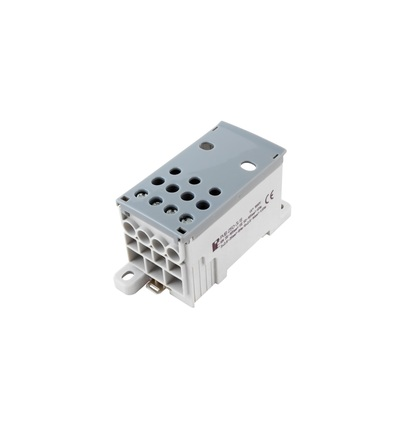 Blok pro rozdělení fází PVB 250-3/8, 1pól., AL/CU, 250A, 690V, šedý/průhl. víko, na DIN, ELEMAN 1004011