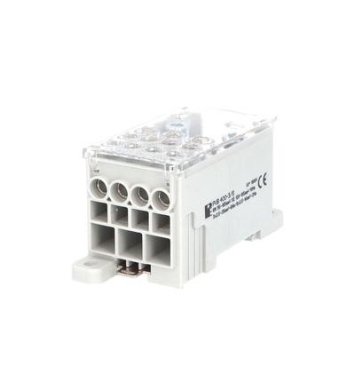 Blok pro rozdělení fází PVB 400-3/8, 1pól., AL/CU, 400A, 690V, šedý/průhl. víko, na DIN, ELEMAN 4081