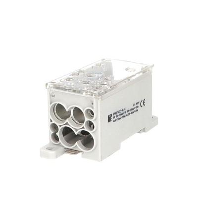 Blok pro rozdělení fází PVB 500-4/4, 1pól., AL/CU, 500A, 690V, šedý/průhl. víko, na DIN, ELEMAN 4082