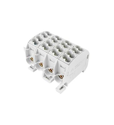 Svorkovnice rozbočovací HLAK 25//4 C 4L, 100A, 4pól., CU, IP20, šedá, na DIN, ELEMAN 1004210