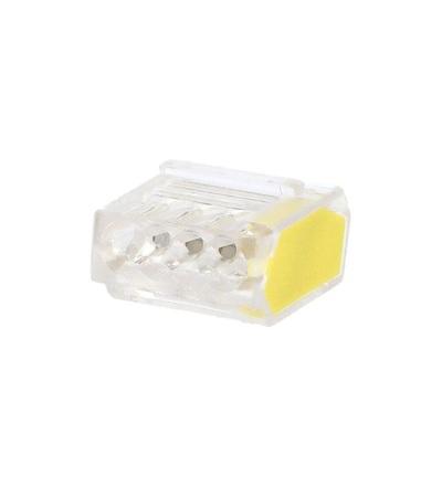 Svorka krabicová P 01-42/10-4, bezšroubová (4x 0,5-2,5mm2, transparentní/žlutá), ELEMAN 1004702