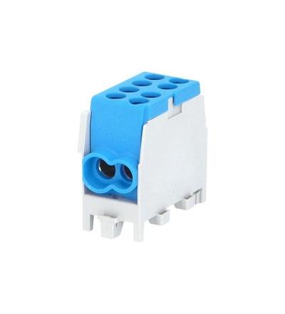 Svorkovnice rozbočovací HLAK 25 1/2 M2, 80A, 1pól., AL/CU, IP20, modrá, na DIN /2080137, ELEMAN 6512