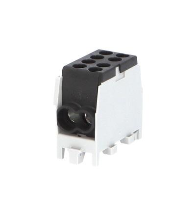 Svorkovnice rozbočovací HLAK 25 1/2 M2, 80A, 1pól., AL/CU, IP20, černá, na DIN /2080140, ELEMAN 6515