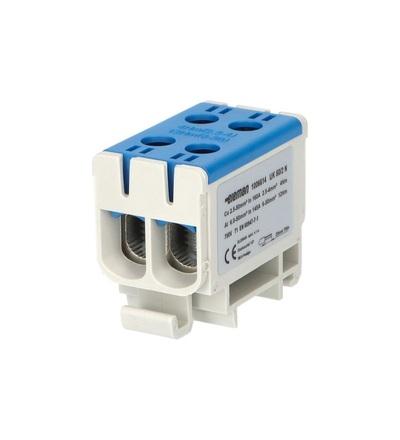 Svorka univerzální UK 50/2 N, 160A, 1pól., AL/CU, krytá, modrá, na DIN, ELEMAN 6614 (6 ks)