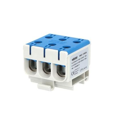 Svorka univerzální UK 50/3 N, 160A, 1pól., AL/CU, krytá, modrá, na DIN /2090305, ELEMAN 6617 (4 ks)