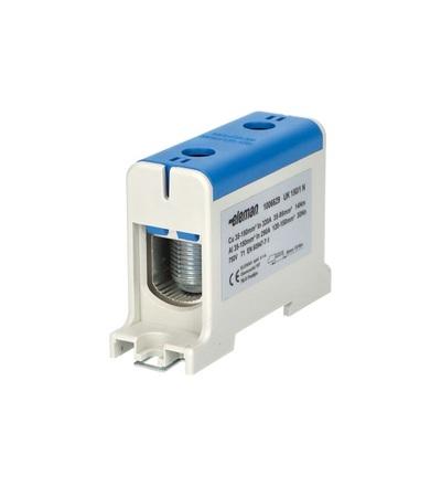 Svorka univerzální UK 150/1 N, 320A, 1pól., AL/CU, krytá, modrá, na DIN, ELEMAN 1006629