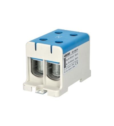 Svorka univerzální UK 150/2 N, 320A, 1pól., AL/CU, krytá, modrá, na DIN, ELEMAN 1006632