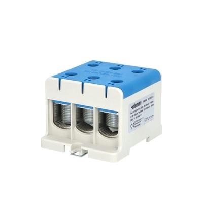 Svorka univerzální UK 150/3 N, 320A, 1pól., AL/CU, krytá, modrá, na DIN /2090311, ELEMAN 1006635
