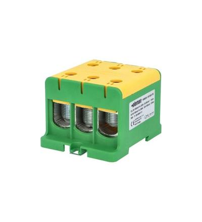 Svorka univerzální UK 150/3 PE, 320A, 1pól., AL/CU, krytá, zeleno-žlutá, na DIN /2090312, ELEMAN 1006636