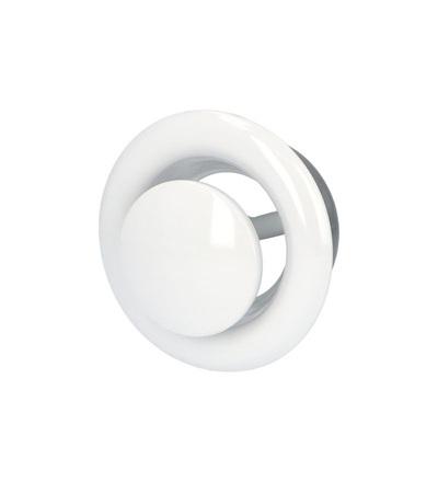 VENTS AM 150 VRF kovový talířový ventil, bílý, polohovatelný, ELEMAN 1009698