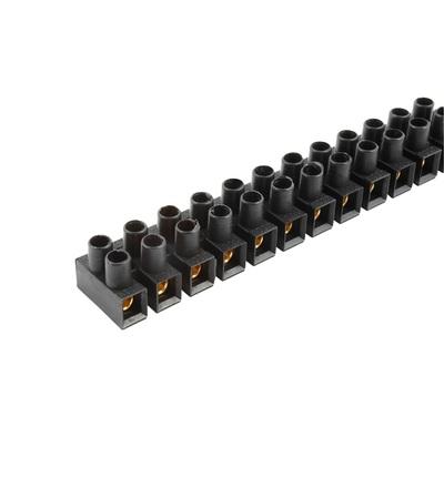 Svorkovnice přístrojová E-KL 1, 12x6mm2, T85, PP, černá, mosazná, hranatá, 41A/400V, ELEMAN 1042