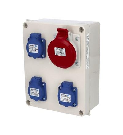Krabice 2963 IP44 3x230V s ochr. kolíkem, 1x400V/16A/5, 235x182x95mm, hladké boky, FAMATEL 2963