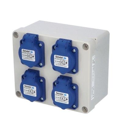FAMATEL Krabice 3065 IP54 4x230V s ochr. kolíkem, 170x140x90mm, hladké boky 3065
