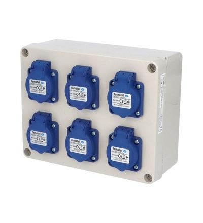 FAMATEL Krabice 3066 IP54 6x230V s ochr. kolíkem, 235x182x95mm, hladké boky 3066