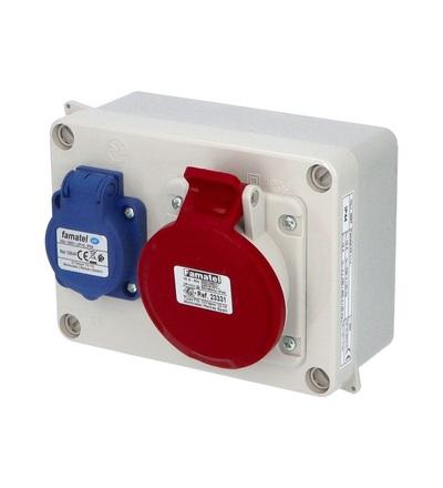 FAMATEL Krabice 3067 IP44 1x230V s ochr. kolíkem, 1x400V/16A/5, 160x120x73mm, hladké boky 3067