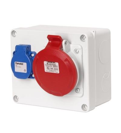 FAMATEL Krabice 3068 IP44 1x230V s ochr. kolíkem, 1x400V/32A/5, 170x140x90mm, hladké boky 3068