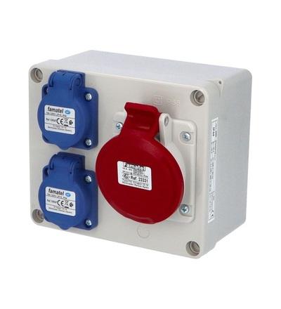 FAMATEL Krabice 3069 IP44 2x230V s ochr. kolíkem, 1x400V/16A/5, 170x140x90mm, hladké boky 3069
