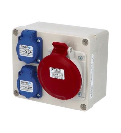 FAMATEL Krabice 3070 IP44 2x230V s ochr. kolíkem, 1x400V/32A/5, 170x140x90mm, hladké boky 3070