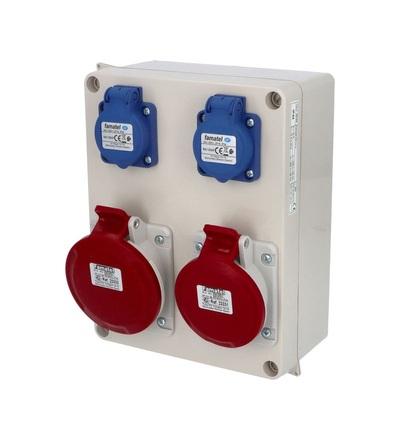 FAMATEL Krabice 30705 IP44 2x230V, 1x 16/5, 1x 32/5 30705