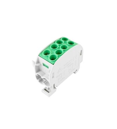 Svorkovnice rozbočovací HLAK 35//1 C PE, 125A, 1pól., CU, IP20, zelená, na DIN, ELEMAN 3160