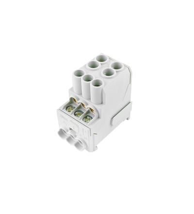 Blok pro rozdělení fází UVB 100 L, 1pól., 100A, 690V, šedý, na DIN, ELEMAN 3164 (3 ks)