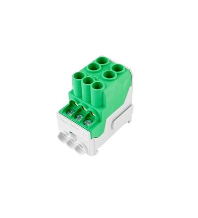 Blok pro rozdělení fází UVB 100 PE, 1pól., 100A, 690V, zelený, na DIN, ELEMAN 3166 (3 ks)