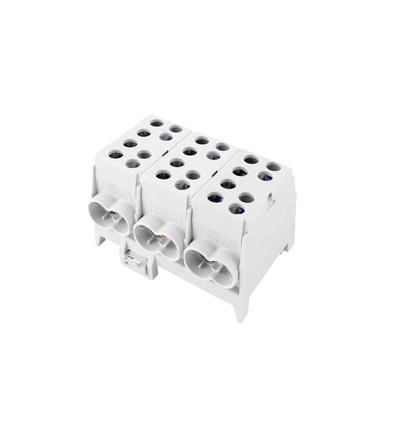 Svorkovnice rozbočovací HLAK 35-3/6 S, 100A, 3pól., AL/CU, IP20, šedá, na DIN /2080309, ELEMAN 321