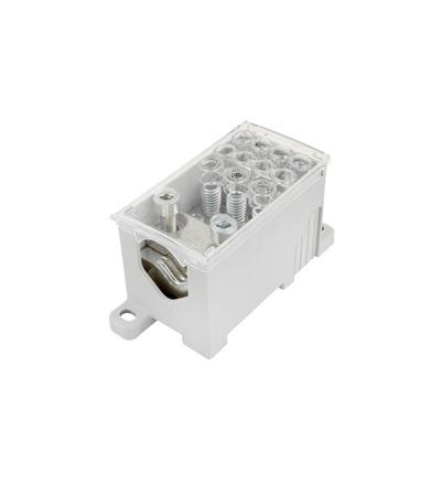 Blok pro rozdělení fází PVB 400-3/8, 1pól., AL/CU, 400A, 690V, šedý/průhl. víko, na DIN, ELEMAN 4081 (5 ks)