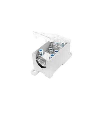 Blok pro rozdělení fází PVB 500-4/4, 1pól., AL/CU, 500A, 690V, šedý/průhl. víko, na DIN, ELEMAN 4082 (5 ks)
