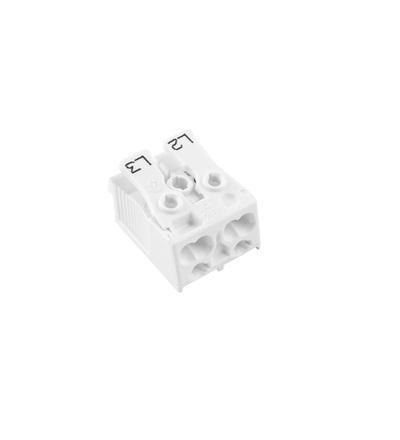 Svorkovnice SLK 3/2 (L2-L3) pro svítidla, bezšroubová, PC, bílá /88713042, ELEMAN 418