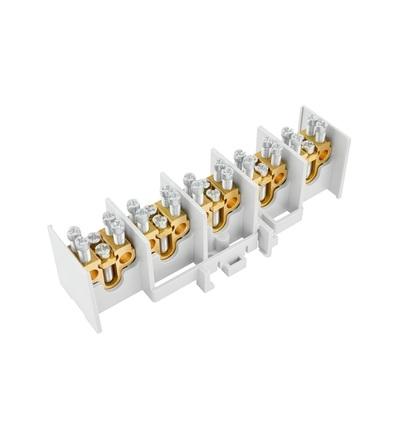 Svorkovnice stoupací HAK/5/25, nekrytá, 80A, 5pól., každý pól 1x25mm2 a 2x16mm2, na DIN, ELEMAN 5171