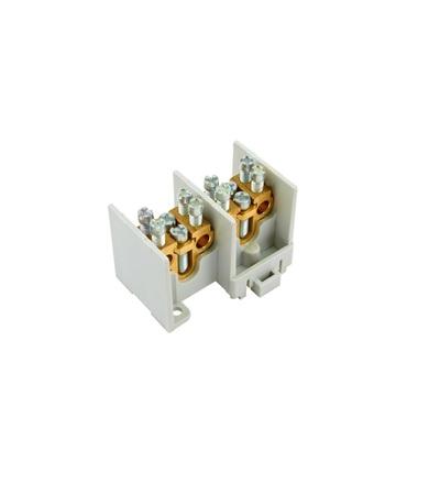 Svorkovnice stoupací HAK/2/35, nekrytá, 100A, 2pól., každý pól 1x35mm2 a 2x25mm2, na DIN, ELEMAN 5181