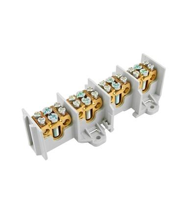 Svorkovnice stoupací HAK/4/35, nekrytá, 100A, 4pól., každý pól 1x35mm2 a 2x25mm2, na DIN, ELEMAN 519