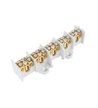 Svorkovnice stoupací HAK/5/35, nekrytá, 100A, 5pól., každý pól 1x35mm2 a 2x25mm2, na DIN, ELEMAN 5191