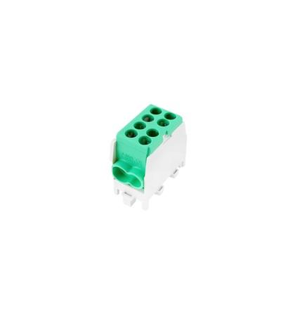 Svorkovnice rozbočovací HLAK 25 1/2 M2 GN, 80A, 1pól., AL/CU, IP20, zelená, na DIN/2080138, ELEMAN 652