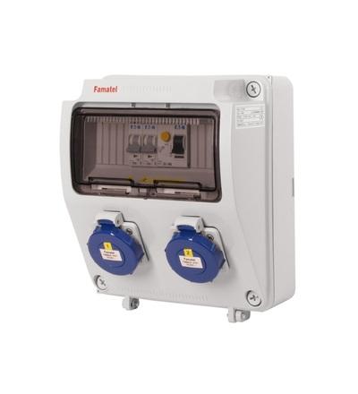 FAMATEL v1156 - ZSF20000000.1 /3957 zásuvková skříň IP65 jištěná s chráničem 25/2/003 v1156