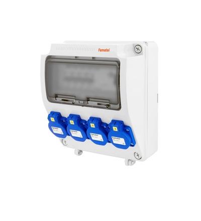 FAMATEL v145-6kA - ZSF40000000.1 /3957 zásuvková skříň IP54 jištěná s chráničem 40/4/003 v145-6kA