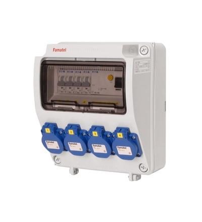 FAMATEL v145 - ZSF40000000.1 /3957 zásuvková skříň IP54 jištěná s chráničem 40/4/003 v145